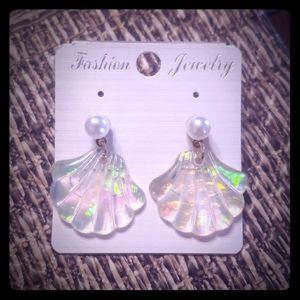Pearl & Iridescent Seashell Earrings